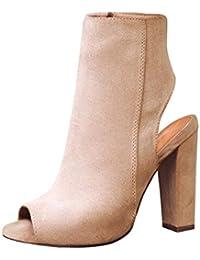 dae6b4970 Daytwork Zapatos para Mujer Botas Tacón Alto - Mujer Punta Abierta Botines  Cremallera Lateral Peep Toe