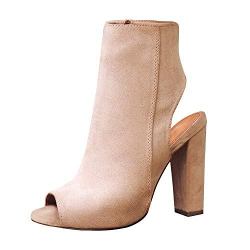 Daytwork High Heel Stiefeletten Damen - Wildleder Peep Toe Slingback Stiefeletten Seitlicher Reißverschluss Plattform Schlank Sandalen Klassischer Stiefel (39 EU=Etikette 40 CN=25cm) Retro-slingbacks Peep-toe-heels