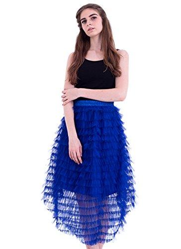 Honeystore Damen's Röcke Tüll A-Linie Vintage Retro Party Hochzeit Faltenwurf Rock Unterrock Petticaot Rockabilly One Size Rötlich-Blau (Barbie Kostüm Selbstgemacht)