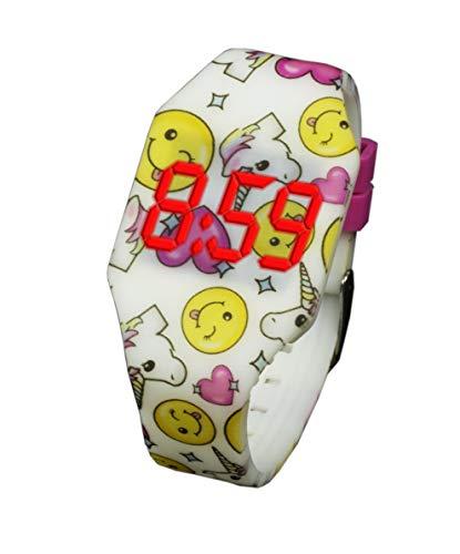 Digitale Uhr LED für Mädchen und Junge, Kinder und Jugendliche, Armbanduhr, aus weichen Silikon, EIN stilvolles Geschenk (001 Einhorn)