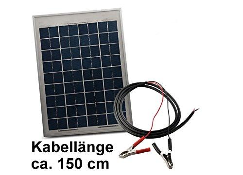 Solarmodul 10W 12V mit Kabel 150cm Solarzelle Solarpanel Polykristallin Photovoltaik Solar Modul Panel Krokoklemmen