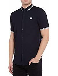 Fred Perry Men's Navy Blue Twin Tipped Waffle Shirt