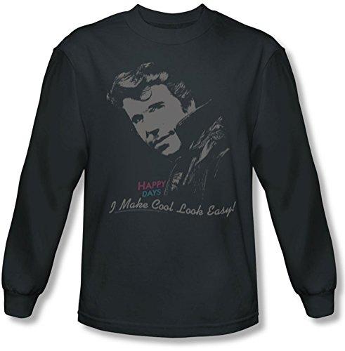 Happy Days - Männer kühlen Fonz Langarm-Shirt in der Holzkohle Charcoal