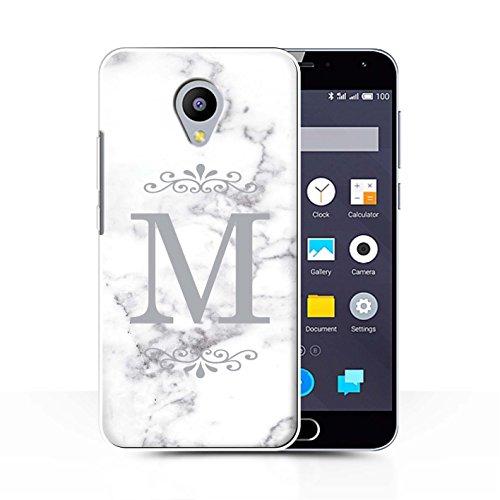 Stuff4® Personalisiert Weiß Marmor Mode Hülle für Meizu M2 Note/Gerahmt Silber Single Design/Initiale/Name/Text Schutzhülle/Case/Etui