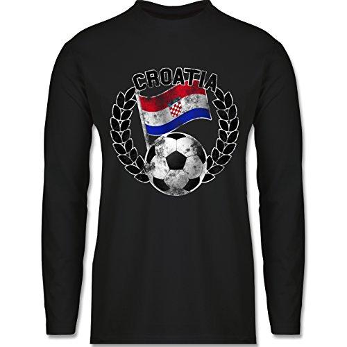 Shirtracer Fußball-WM 2018 - Russland - Croatia Flagge & Fußball Vintage - Herren Langarmshirt Schwarz