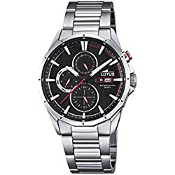 Lotus Men's Quartz Watch with Black Dial Analogue Display and Silver Stainless Steel Bracelet 18319/4