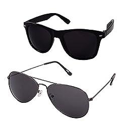 Silver Kartz UV Protection Combo Aviator & Wayfarer Unisex Sunglasses (av031|140|Black)