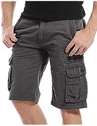 Kuson Hommes Shorts Bermudas Cargo Outdoor Coton Casual Lâche avec Poche sans Ceinture
