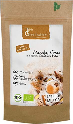 BIO Masala Chai-Tee   Schwarzer-Tee Assam mit Kardamom und Kurkuma   traditionell indische Gewürz-Mischung aus der ayurvedischen Gesundheitslehre   Tee-Geschwister   100g