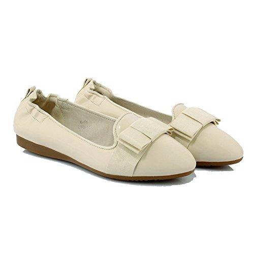 VogueZone009 Femme Pu Cuir à Talon Bas Rond Couleur Unie Tire Chaussures Légeres Beige