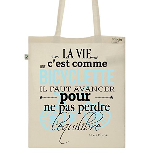 Tote Bag Imprimé Ecru - Toile en coton bio - Citation Albert Einstein
