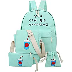 Niña Bolsa de Lona Moda Set de 4 Piezas Mochila + Bolso de Bandolera + Billetera + Pequeño Bolsillo Mochilas Mujer Para Escolar Verde