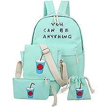 Niña Bolsa de Lona Moda Set de 4 Piezas Mochila + Bolso de Bandolera + Billetera + Pequeño Bolsillo Mochilas Mujer Para Escolar