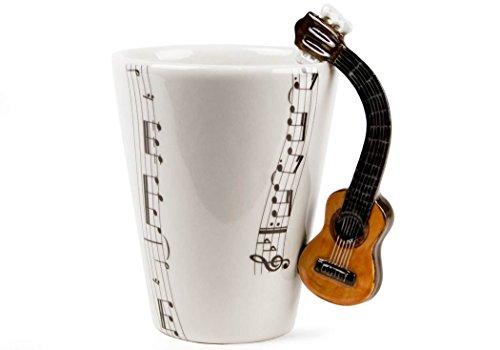 Chitarra classica tazza da caffè realizzata a mano 8 oz (23,6 cl) colore marrone (10cm x 8cm)