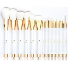 Brochas de Maquillaje, Qivange Brochas Maquillaje Profesional Vegano/Sintético set brochas maquillaje brochas ojos + Bolsa Cosmética, Blanca con Oro(15pcs)