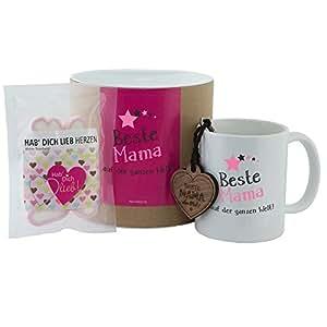 """Geschenkset """"Beste Mama auf der ganzen Welt"""" (Tasse, Schlüsselanhänger & Hab Dich lieb Herzen) tolles Muttertagsgeschenk, für Mütter, Geburtstagsgeschenk, Muttertag, Mutter, für Mama"""