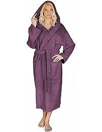 Arus - Albornoz-Astra de mujer, 100% algodón, medio tiempo, con capucha