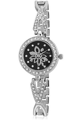 Fostelo Women's Black Dial Analog Wrist Watch (FST-123)