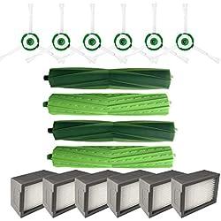 Accessoires De Robot De Balayage,2 Jeu De Brosses à Rouleau+6pcs Brosse Latérale+6pcs Haipa Pour Irobot Roomba i7 i7 + / i7 Plus E5 E6 E7 (Blanc, irobot Roomba i7/i7)