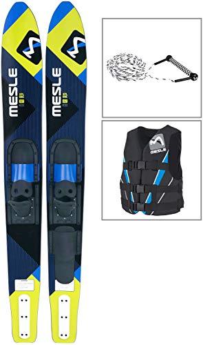 MESLE Combo-Ski Package XPlore 157 cm mit Weste V210 + Leine Combo, Wasserski für Jugendliche und Erwachsene, blau-Lime, Größen:XS