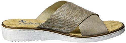 Rieker 63660, Mules Femme Beige (Fango-silver/altgold / 65)