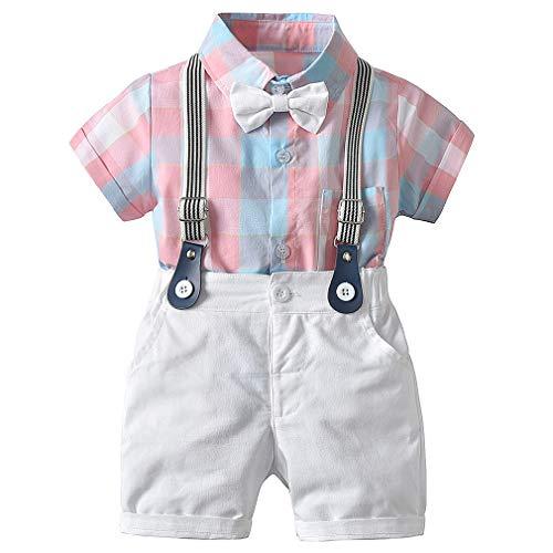 CARETOO Baby Jungen Bekleidungssets Kleidung Set Gitter Shirt + Hose Baby Fliege Anzug für Baby Geburtstagsparty Kleid, Rosa, Etikett 80 (Körpergröße 90~80 cm) - Herren Anzug Größe Diagramm