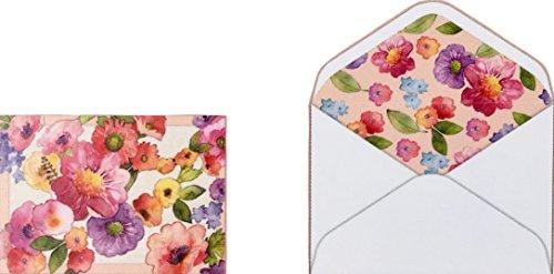 Punch Studio Fenster Box Laser geschnitten gefüttert blanko Note Karten ~ Watercolor Floral: 16719, 10ct -