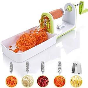 Kompakter Gemüse Spiralschneider mit 5 Klingen und Saugnapf von Twinzee - 5 schnell auswechselbare Klingen - Benutzerfreundlicher Gemüseschneider zur Verarbeitung Ihres Gemüses und Obsts