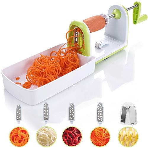 Twinzee Kompakter Gemüse Spiralschneider mit 5 Klingen und Saugnapf 5 Schnell auswechselbare Klingen - Benutzerfreundlicher Gemüseschneider zur Verarbeitung Ihres Gemüses und Obsts