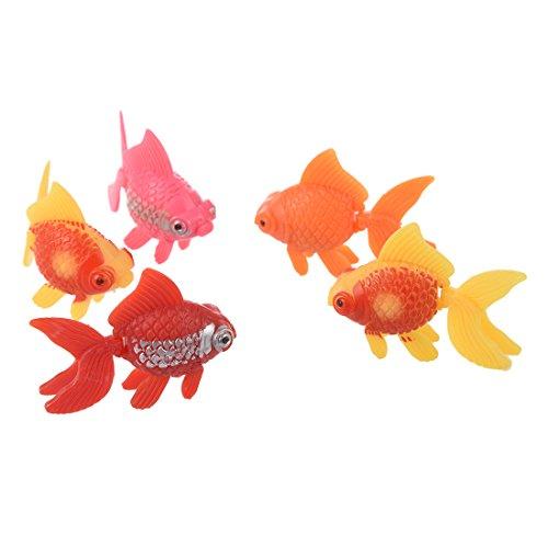 artificiale pesci rossi - SODIAL(R) 5 pezzi di plastica artificiale ornamento acquario di pesci - pesci rossi