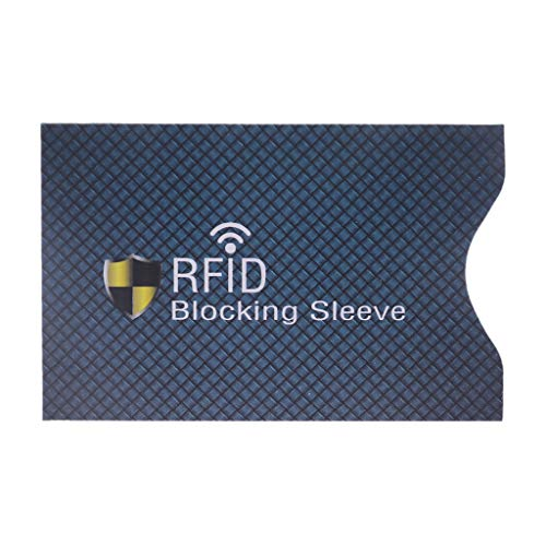 Viesky 1PC Anti Vol pour RFID Carte De Crédit Protecteur Blocage Étui en Cuir De Manches (Bleu Profond)