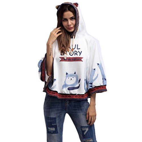 Felpe con Cappuccio Donna Ragazza Autunno Inverno Elegante Moda Pullover Maglietta Maniche Lunghe a Pipistrello Felpa Stampa Gatto Sweatshirt Oversize Hoodie Casual Giacca Cappotti Tops - BienBien Bianco