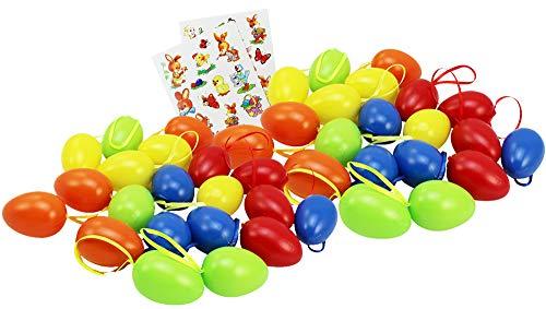 com-four® 40 œufs de Pâques en 5 Couleurs différentes + 23 Images Auto-adhésives (40 pièces - 6cm. Vert/Bleu/Orange/Jaune/Rouge)