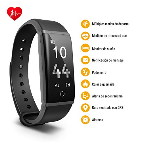 Mpow Pulsera de Actividad Inteligente Impermeable con Pulsómetro,  Podómetro,  Monitor de Sueño,  Calorías,  GPS,  Múltiples Modos de Deporte, Notificaciones de Llamada y Whatsapp