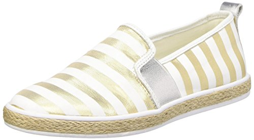 Guess Fabric Active Scarpe Low-Top, Donna, Multicolore (oro/bianco), 40
