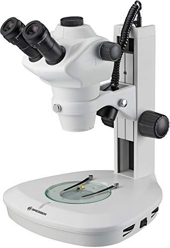 Bresser professionelles Auflicht- Durchlicht Stereo Mikroskop Science ETD-201 8-50x Vergrößerung, mit trinokularem Auszug für c-Mount Kameras, Stereo Zoomobjektiv und langlebiger LED Beleuchtung