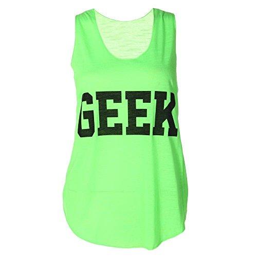 Nuovo da donna Neon Geek stampa Top senza maniche T-Shirt effetto gilet dimensioni 8-14 Verde