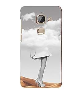 PrintVisa Modern Art Girl Clouds & Sand Design 3D Hard Polycarbonate Designer Back Case Cover for LeEco 2S