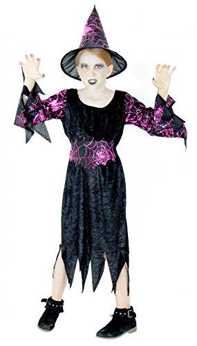 s Hexenkostüm Kostüm Hexe Mädchen Horror Halloween Party Karneval Gr. 110-158, Größe:110/116 ()