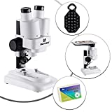 QUNSE 40x Stereo Microscope for Kids and Students, School & Lab Binocular Microscope