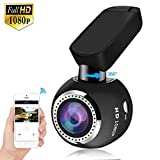Upgraded Car Dash Cam WiFi Mini Dashcam HQBKiNG FHD 1080P Car Dashboard Camera with Night Vision Magnetic 360° Rotating Stand G-Sensor Loop Recording Parking Monitor, Support Card 128G Max