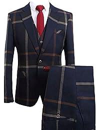 Costume Homme Un Bouton Mariage Mode Slim fit Deux-Pièces Elégant Blazer+Pantalon Formel Gris/Bleu