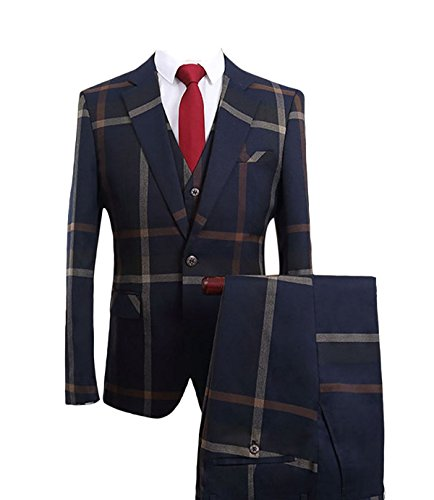 YOUTHUP Mens Two Piece Plaid Suit Casual Slim Fit 1 Button Suit