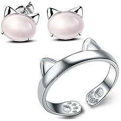 Anillo Gato Ajustable 925 Plata Plateado Para Mujer Con Rosa Pendientes Gato (Oreja)