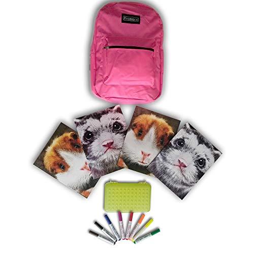 Rosa Rucksack-14Artikel Süße Schule Bundle-Back To School Supplies-Beinhaltet: 1rosa Rucksack, von 4Schule Ordner, 8waschbar Marker + Bonus Bleistift Box