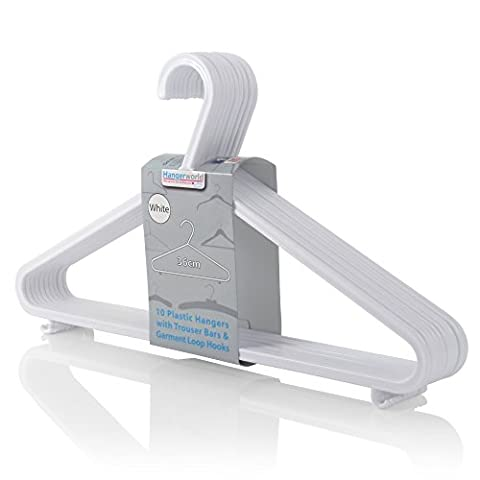 Hangerworld Pack of 40 White Plastic Coat Hanger with Trouser / Skirt Bar & Loop Hooks 36cm (14