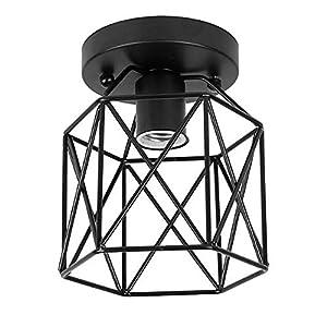 ZHMA Semi-Flush Mount Deckenleuchte, Industrial Vintage Style Lampenschirm, Öl gerieben Bronze Finish für Flur Studie Zimmer Büro Schlafzimmer Dekoration