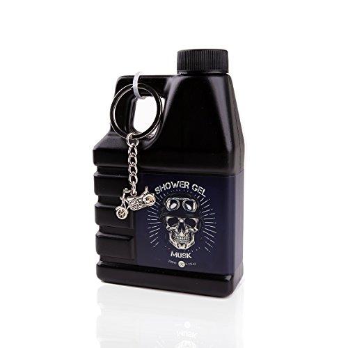 Accentra Duschgel für Männer im Motoröl-Kanister – Geschenkidee für Motorrad-Fahrer oder Hobby Schrauber – 200 ml Dusch-Seife mit Schlüsselanhänger Bike und Totenkopf Design - Duft: Musk