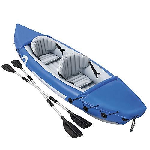 Kajak Doppel Kanu Drift Boot Schlauchboot Kajak Schlauchboot Verdickt Fischerboot/Blau (Farbe : Blau, Größe : 351x76x38cm)
