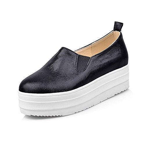 VogueZone009 Femme Couleur Unie à Talon Bas Pu Cuir Rond Tire Chaussures Légeres Noir